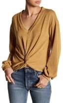 Lush Twisted Hem V-Neck Sweater