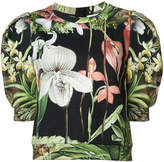 ADAM by Adam Lippes Orchid printed sweatshirt with puff sleeve