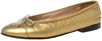 Chanel Gold Leather Cap Toe CC Bow Ballet Flats Size 38