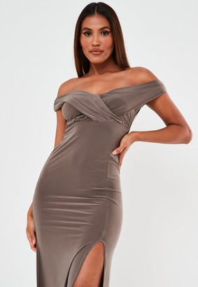 Missguided Brown Bardot Wrap Split Maxi Dress