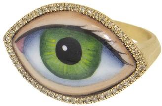 Large Green Enamel and Diamonds Evil Eye Ring - Yellow Gold