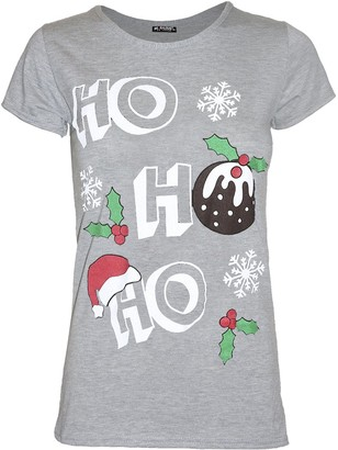 Fashion Star Womens Christmas T Shirt Ladies Baby Reindeer Cap Novelty Sleeve Cotton Xmas Top (M/L (UK 12/14)