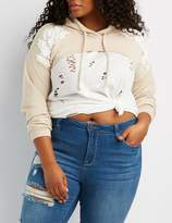 Charlotte Russe Plus Size Embroidered-Trim Cropped Hoodie