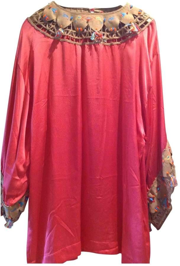 Emamo Pink Silk Dress for Women