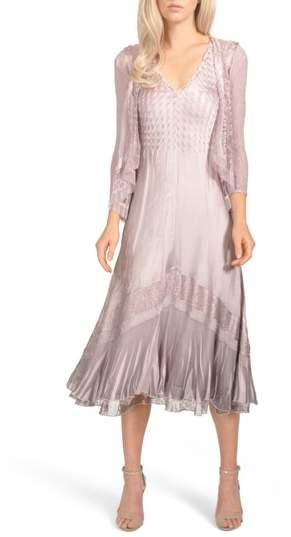 Komarov Lace Inset Charmeuse Dress with Jacket