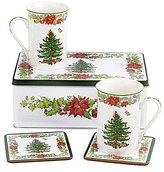 Spode Christmas Tree Poinsettia 5-Piece Mugs & Coasters Gift Set