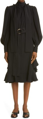 ADEAM Long Sleeve Scarf Dress