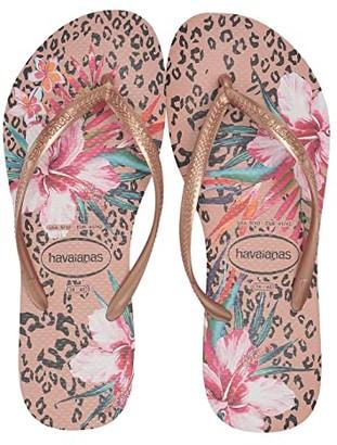 Havaianas Slim Animal Floral (Black) Women's Sandals