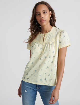 Lace Trim Printed Henley