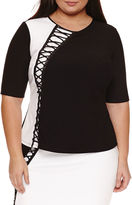 Bisou Bisou Long Sleeve Round Neck Knit Blouse-Plus