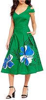 Kay Unger Cold Shoulder Hand Painted Floral Midi Dress