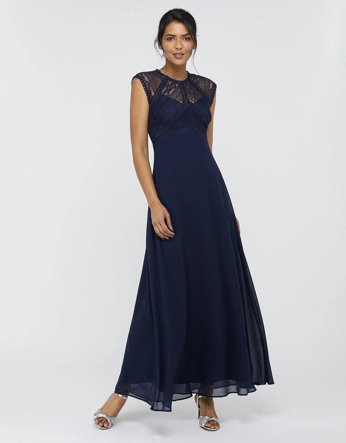 Monsoon Lolita Maxi Dress with Lace Bodice Blue
