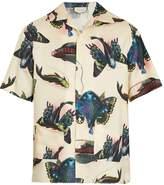 Gucci Fish-print short-sleeved silk-satin twill shirt
