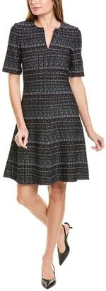 St. John Textured Wool-Blend A-Line Dress