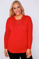 Yours Clothing Red Long Sleeve Jumper With Lace Up Neckline