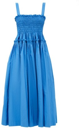 Molly Goddard Kayla Shirred Taffeta Midi Dress - Blue