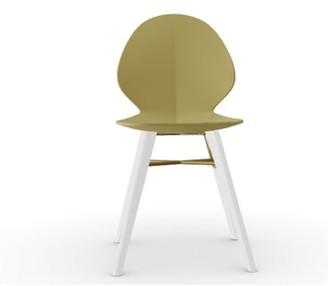 Calligaris Basil Mw Side Chair Finish: Matte Optic White, Fabric: Mustard Yellow, Cross Bar: Mustard Yellow