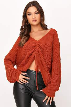 I SAW IT FIRST RUCHED FRONT KNITTED JUMPER