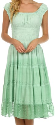 Sakkas 6741 Spring Maiden Ombre Peasant Dress - Sage Green - One Size