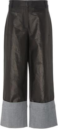 Tibi Nerd Cropped Coated Denim Wide-Leg Pants