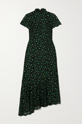 Cefinn Kayla Asymmetric Lace Turtleneck Midi Dress - Black
