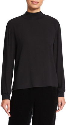 Eileen Fisher Mock-Neck Boxy Silk Top