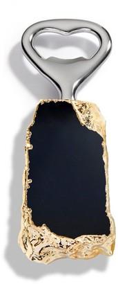 Anna New York Heritage 24K Goldplated Obsidian Bottle Opener