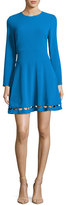Shoshanna Long-Sleeve Crepe Cutout Fit-and-Flare Dress