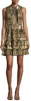 Elie Saab Sleeveless Metallic Star-Lace Ruffled Dress, Gold