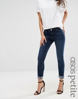 Asos Lisbon Skinny Mid Rise Jeans in Dark Wash with Turn Up