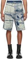 Kenzo Blue and White Jacquard Shorts