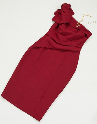 Lipsy bow detail midi dress with one shoulder in magenta