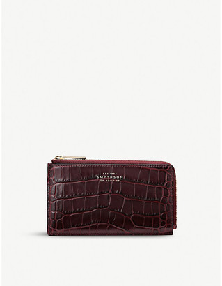 Smythson Mara croc-embossed leather coin purse
