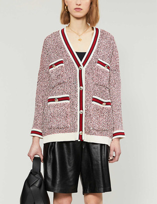 Maje Metallic knit relaxed-fit cardigan