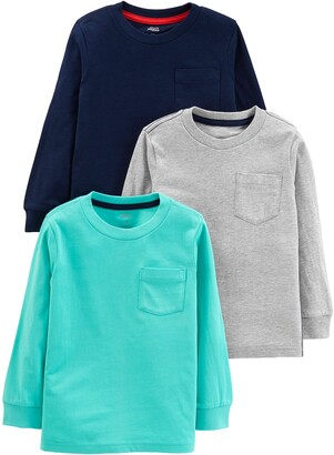 Simple Joys by Carter's 3- Pack Solid Pocket Long-sleeve Tee Shirts T Set