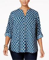 Charter Club Plus Size Printed Shirt, Only at Macy's