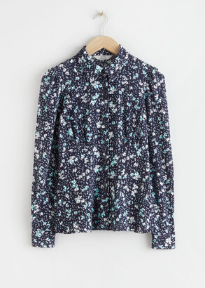 And other stories Floral Crepe Fitted Blouse