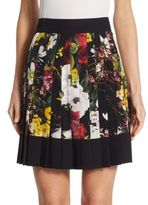 Dolce & Gabbana Pleated Floral-Print Crepe de Chine Skirt
