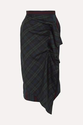 Pushbutton - Ruffled Paneled Tartan And Striped Wool-blend Skirt - Navy