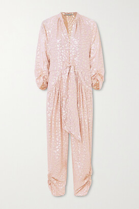 Stella McCartney - Tie-front Ruched Metallic Fil Coupe Silk-blend Jumpsuit - Pink