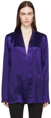 Haider Ackermann Blue Shawl Collar Shirt