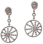 Rarities Sterling Silver Champagne Diamond Round Drop Earrings $1400 New