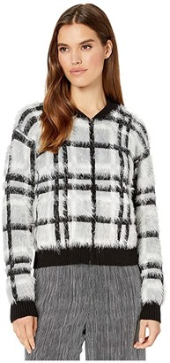 1 STATE Zip Front Plaid Eyelash Sweater (Silver/Blush) Women's Sweater