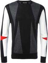 Neil Barrett intarsia geometric pattern jumper - men - Merino - M