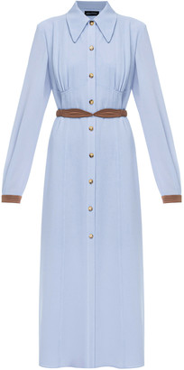 Anna October Alexandra Belted Crepe De Chine Shirt Dress