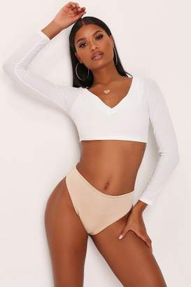 I SAW IT FIRST Cream Ribbed Long Sleeve Bikini Top