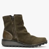 Thumbnail for your product : Fly London Monty Sludge Olive Suede & Leather Side Zip Wedge Boots