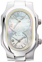 Philip Stein Teslar Women's Stainless Steel & Mother of Pearl Dual Time Zone Watch Case, 42mm x 27mm