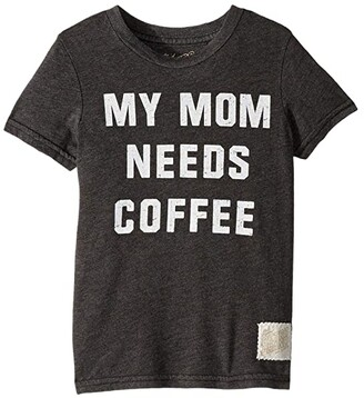 The Original Retro Brand Kids My Mom Needs Coffee Short Sleeve Tee (Little Kids/Big Kids) (Heather Black) Boy's T Shirt