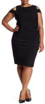 Tahari Cold Shoulder Sheath Dress (Plus Size)